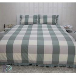 Двоен спален комплект естествен лен - Зелен