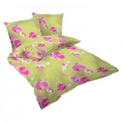 Спално бельо памучен сатен - Зелена Орхидея II