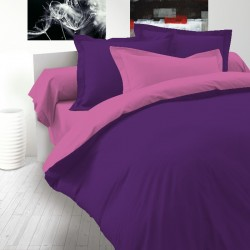 Двулицево спално бельо Ранфорс - Тъмно розово-Лилаво
