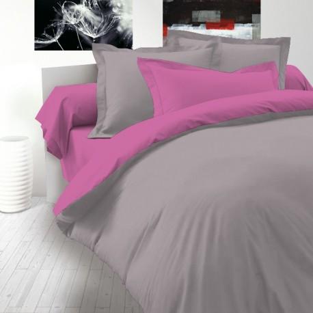 Двулицево спално бельо Ранфорс - Розово-Сиво