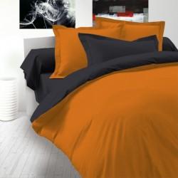 Двулицево спално бельо Ранфорс - Черно-Оранжево