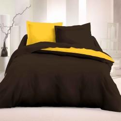 Двулицево спално бельо Ранфорс - Кафяв-Жълт