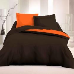 Двулицево спално бельо Ранфорс - Кафяв-Оранж