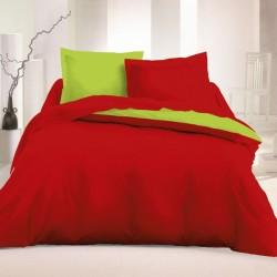 Двулицево спално бельо Ранфорс - Червено-Лайм