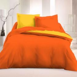 Двулицево спално бельо Ранфорс - Оранж-Жълт