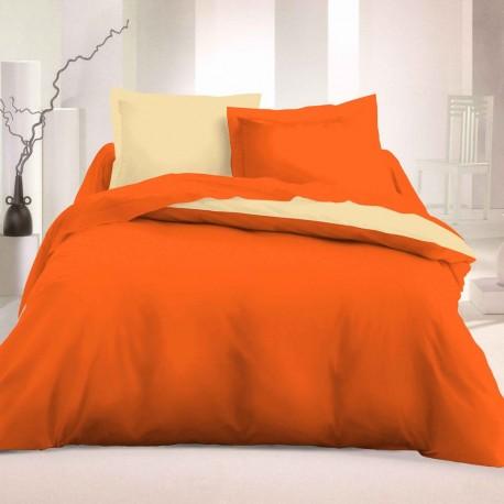 Двулицево спално бельо Ранфорс - Оранж-Екрю